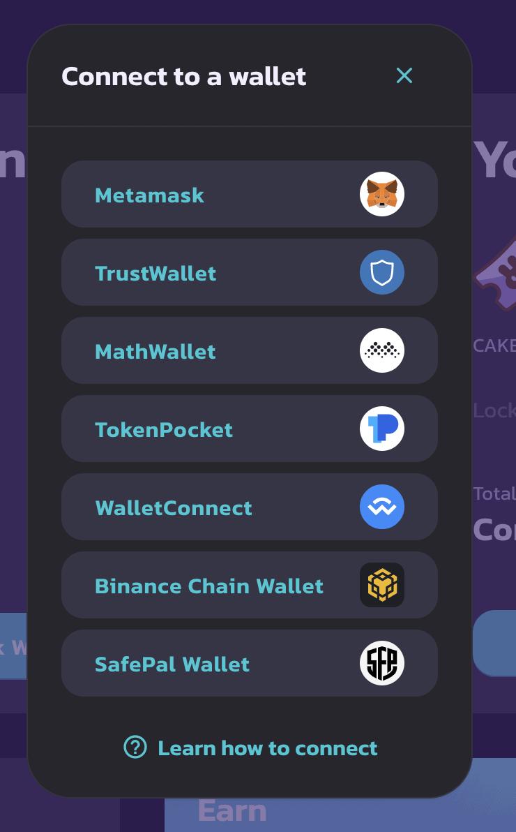 Đăng nhập ví của bạn để kết nối với Pancakeswap, ở bài viết này dùng ví MetaMask